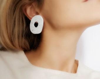 White Ceramic Hoop Earrings, White Clay Hoop Earrings, Statement Clay Hoop Earrings, Modern Shape Stud Earrings, Modern Ceramic Earrings
