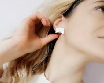 White Modern Clay Earrings, White Modern Shape Ceramic Earrings, White Minimalist Clay Earrings, Speckled White Stud Earrings, Handmade Stud