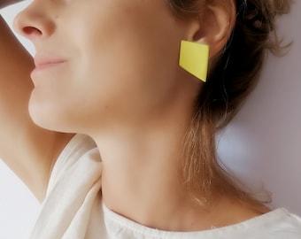 Polygon Stud Earrings, Yellow Geometric Stud Earrings, Yellow Ceramic Stud Earrings, Modern Yellow Earrings, Yellow Square Stud Earrings