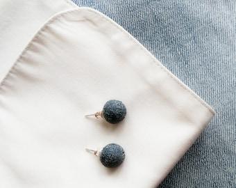 Denim stud earrings, jeans stud earrings, denim sphere studs, denim ball earrings, blue sphere earrings, blue ball studs, blue ball earrings