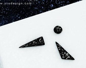 Black matte earrings set, ceramic earrings set, round and triangle earrings set, geometric ceramic earrings, mix trio stud set, studs