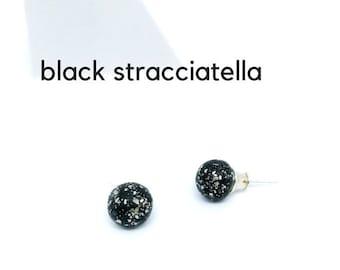 Minimalist black stud earrings, black ball earrings, black bubble earrings, black bubble studs, black ceramic studs, matted stud earrings