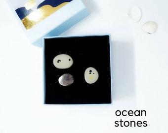 Minimalist Earrings, Silver Post Earrings, Set of 3 Earrings, gift-for-her, grey stud earrings, grey post earrings, stone shape earrings