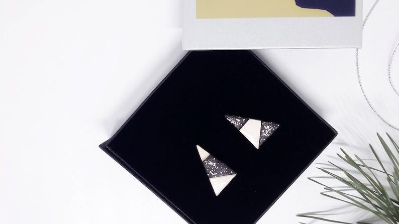 Triangle stud earrings asymmetric ceramic earrings triangle image 0
