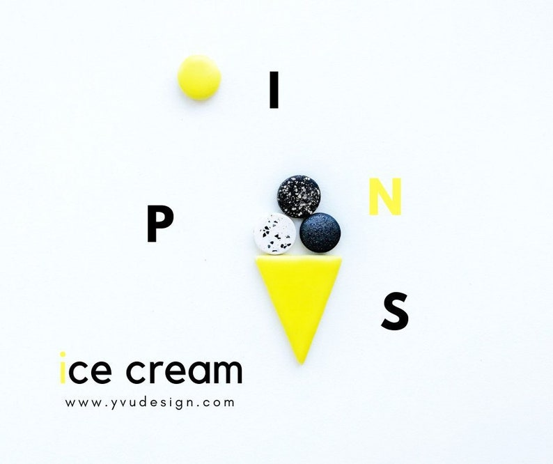 Geometric pins Ceramic pins Clay pins Ice cream pins image 0