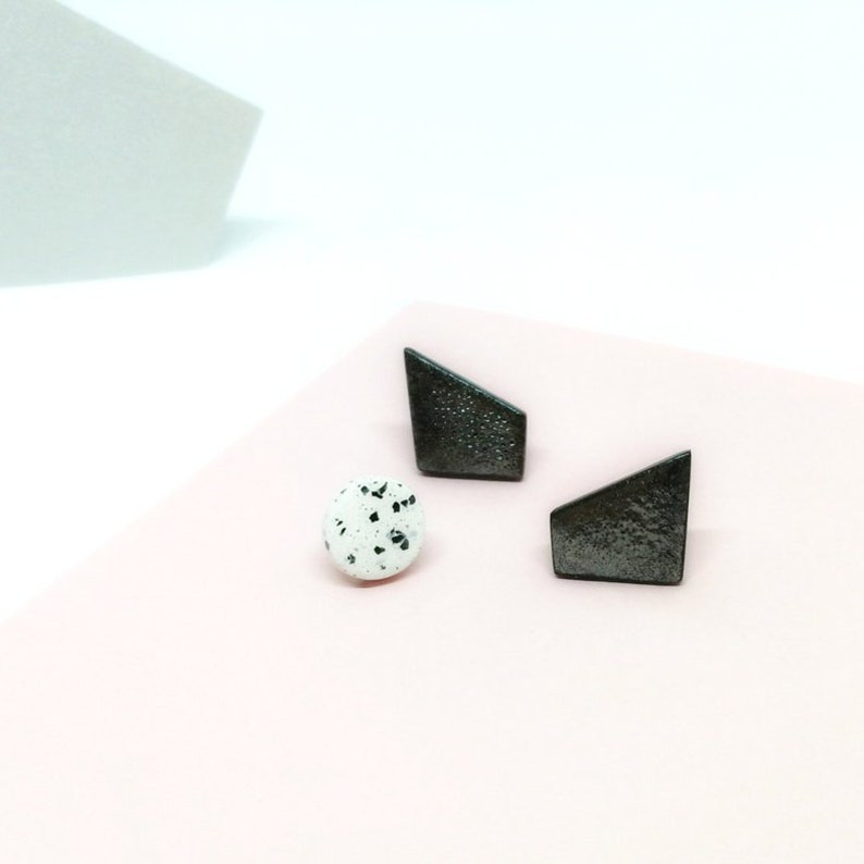 Modern black earrings Modern black minimalist geometric image 0