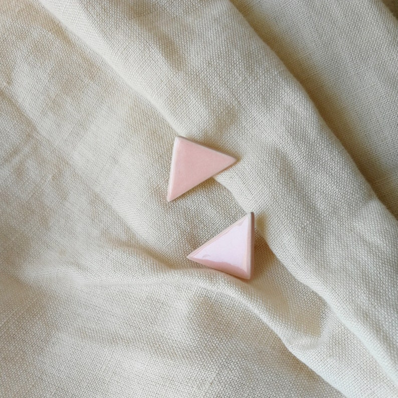 Pink Triangle Stud Earrings Pastel Pink Ceramic Earrings image 0
