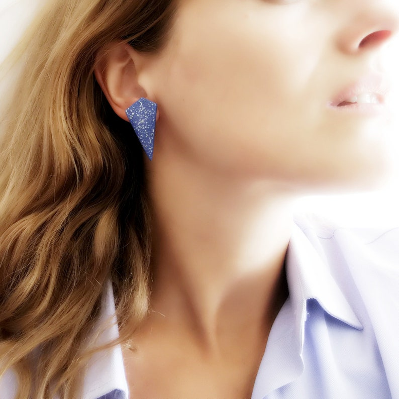 Polygon Stud Earrings Blue Geometric Stud Earrings Blue image 0
