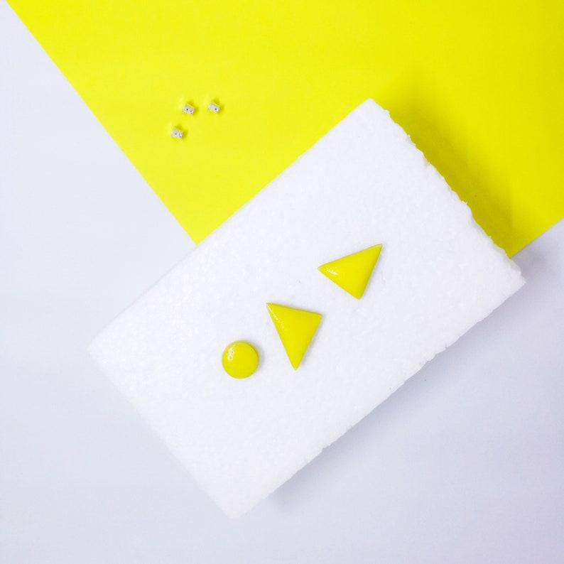 adeaa380281a5 Yellow geometric earrings, Yellow geometric studs, Yellow triangle studs,  Yellow triangle earrings, Bright yellow earrings, Yellow clay post