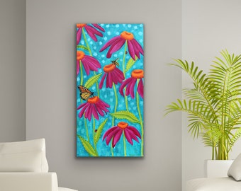 """Original Wildflower Butterfly and Bee Painting named """"Darling Wildflowers"""" Floral, Botanical Art"""