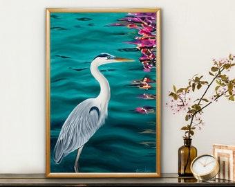 giclee fine art print of original oil painting blue heron on the water, lake art by Ashley Lane