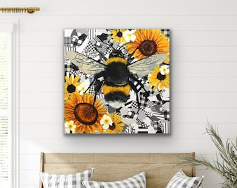Buzzzy - bumble bee sunflower original oil painting on collage on stretched canvas by Ashley Lane