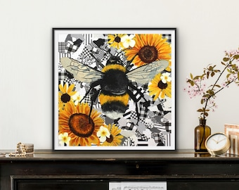 Giclee Fine Art Print of Buzzzy - bumble bee sunflower original oil painting on collage  by Ashley Lane