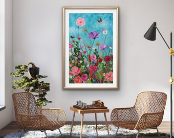Wild and Wondrous - Giclee print of original painting -  wildflowers, hummingbird  and butterfly painting by Ashley Lane