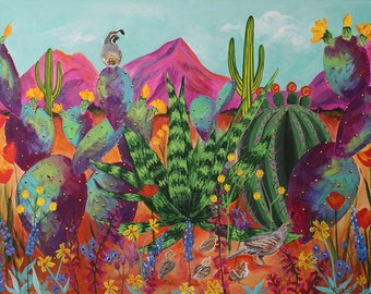 Quail Family Outing - giclee paper and canvas print of original desert landscape painting with quail, mountains and cactus by Ashley Lane