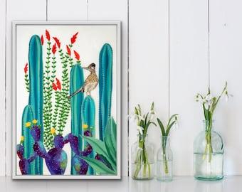 giclee fine art print of original Roadrunner, cactus, agave, ocotillo, botanical resin art painting by Ashley Lane