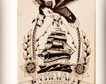 17c806ed2 Traditional tattoo flash, hand painted, eagle, ship, rose, nautical