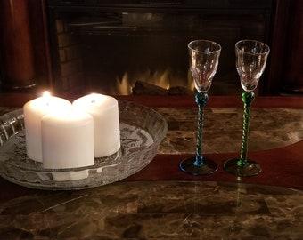 Set of 2 Vintage long stem liqueur glasses liqueur glassware aperitif stemware hand blown glass art cordial glasses long stem shot glasses