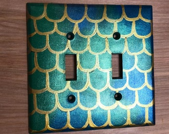 Dragon Scale Double Light Switch Cover