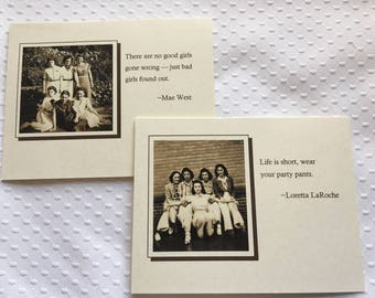 Set of 8 Vintage Photos Handmade Cards Photo Note Cards Girlfriends Greeting Cards - Boxed set with envelopes 5.5 x 4.25 in