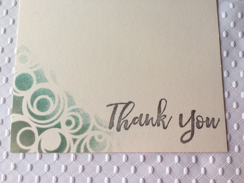 - Boxed set with envelopes Thank You Cards Handmade cards Set of 8 Silver-Green Stamped and Stenciled Thank You Cards 5 18 x 7 in