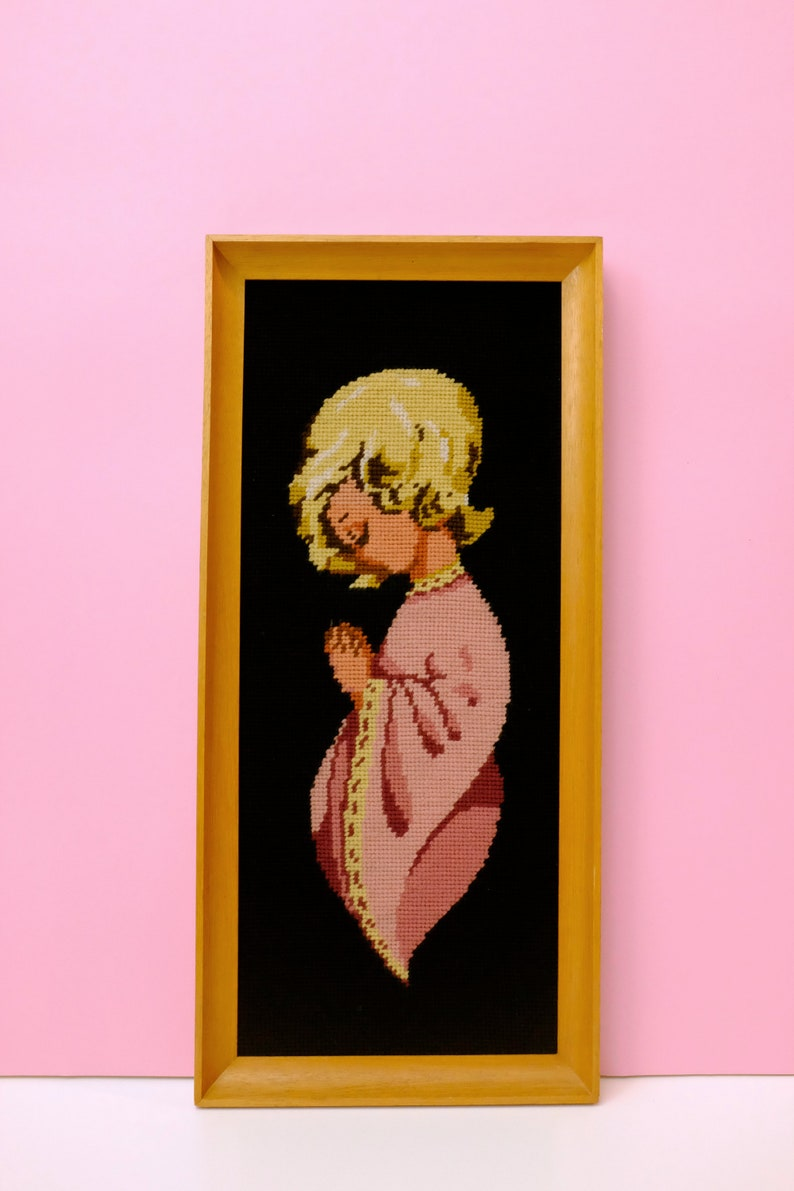 Embroidery picture girl prayed hands in wooden frame ref 601