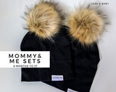 Mommy and Me Hats, Fur Pom Pom Hat, Slouchy Beanie Hat, Mommy and me outfit , Baby Winter Hat ,Toddler Toque