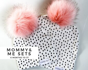 NEW ! Luxe B Baby Mommy and Me Hats, Baby pom pom hat,Slouchy Beanie , Infant Winter Hat , Mommy and me outfit , Girl Baby Boy Toddler Toque