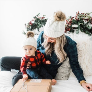 Mommy and me outfit Baby pom pom hat,Slouchy Beanie Hat Girl Baby Boy Toddler Toque Infant Winter Hat Mommy and Me Hats Luxe B Baby
