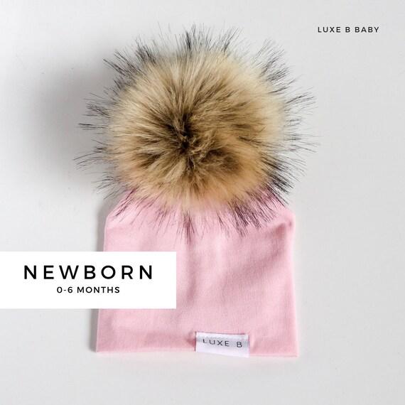Newborn Baby Pom Pom Beanie Winter Hat Baby Slouchy Beanie  b02a28188f78