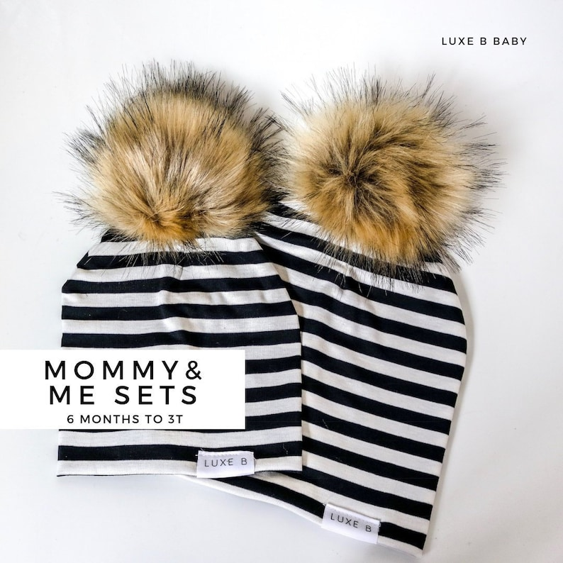 db54973fa6d Luxe B Baby Mommy and Me Hats Baby pom pom hatSlouchy
