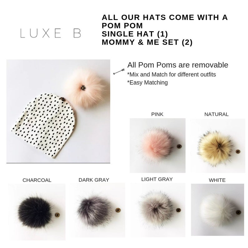 Girl Baby Boy Toddler Toque Mommy and me outfit Mommy and Me Hats Baby pom pom hat,Slouchy Beanie Hat Luxe B Baby Infant Winter Hat