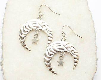 Silver Crescent Moon Star Dangle Earrings