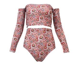 6846c9de6e Paisley Long Sleeve Tube Top Off Shoulder High Waist Shorts Set