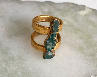 Raw Appitate double band ring- 24k Gold Plated