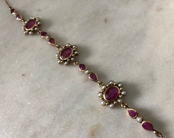 9ct Gold Ruby and Pearl Bracelet