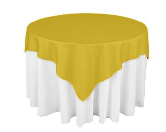 Gold 60 X 60 Square Overlay 100% Woven Polyester Tablecloth For Banquets,  Weddings U0026 Parties