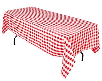 Merveilleux Red Checkered Gingham 60 X 108 Rectangular 100% Woven Polyester Tablecloth  For Banquets, Weddings U0026 Parties
