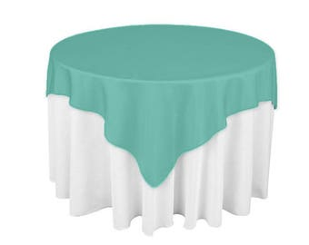 Genial Aqua 60 X 60 Square Overlay 100% Woven Polyester Tablecloth For Banquets,  Weddings U0026 Parties