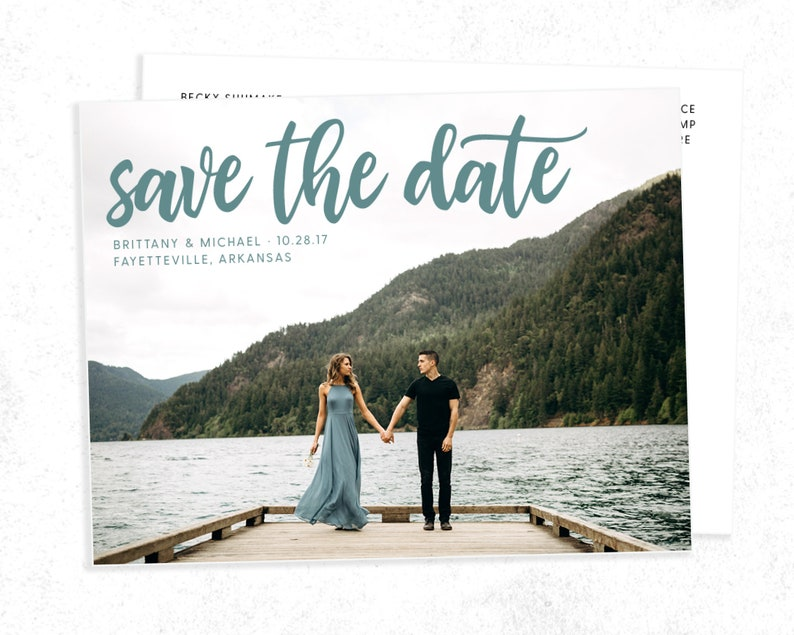 Save The Date Card with Photos | Brush Calligraphy Double-Sided Printed Or  Printable Personalized Multi-Photo Engagement Announcement