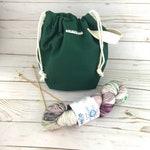 Knitting Project Bag Hunter Green Drawstring Bag