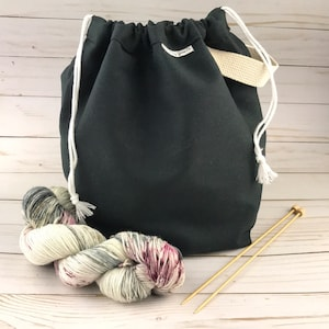 SMALL Knitting Project Bag TURQUOISE Canvas Drawstring Bag