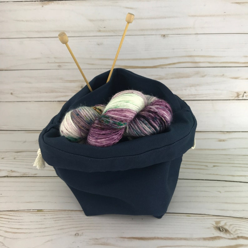 Drawstring Bag LARGE Knitting Project Bag MIDNIGHT Blue dark Navy