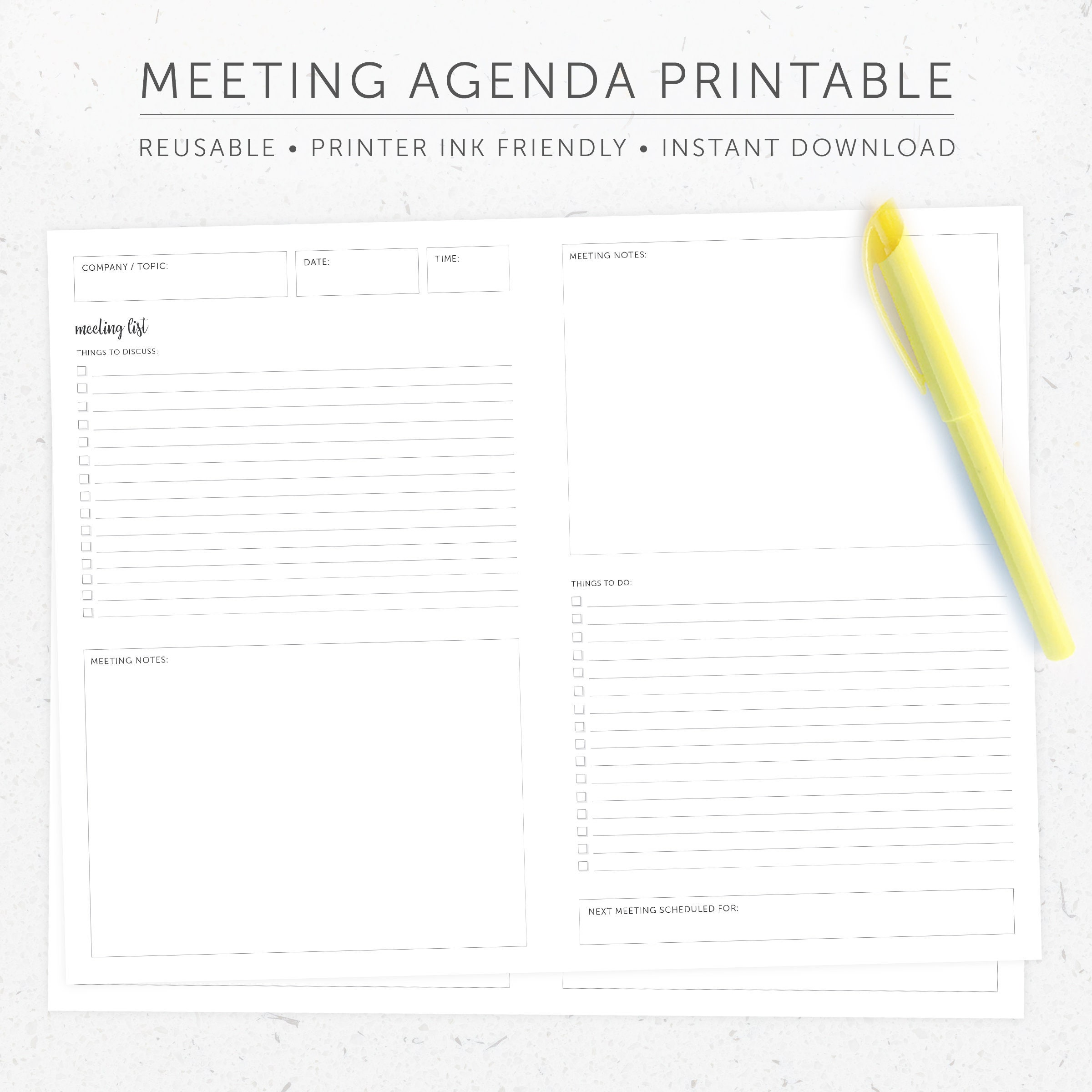 agenda and actions focused meeting minutes template
