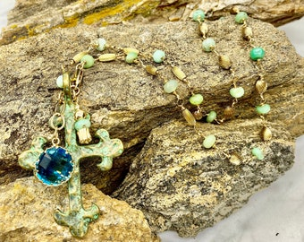 14k Gold Filled & Chrysoprase Gem Necklace with Large Patina Cross W/ 17mm Faceted Crystal Dangle
