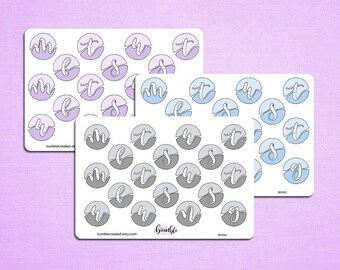 Circle date cover stickers, brush lettering day of the week stickers Bullet journal, planner stickers, B009A