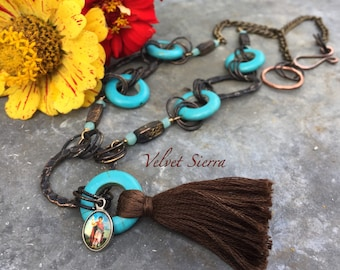 tassel jewelry, beaded tassel necklace, boho necklace, turquoise bead necklace, tassel necklace, turquoise jewelry, mixed metal necklace