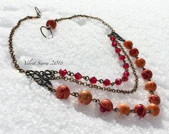 Statement necklace, triple strand, multi strand, red necklace, beaded necklace, jewelry handmade, bridesmaid jewelry, handcrafted necklace
