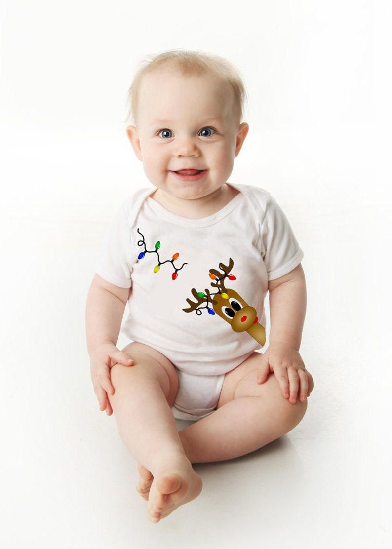 Short Sleeve Christmas Baby Bodysuit with Reindeer and Christmas Lights Print