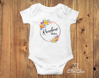 Rainbow Baby, Gift, Rainbow Baby Onesie, Rainbow Baby Bodysuit, Cotton, Bright, Rainbow, Water colour, Flowers, Cute, Boy, Girl, Baby